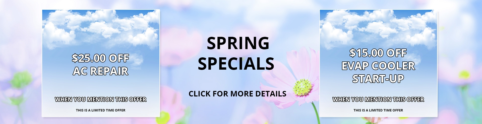 Spring Specials for $25.00 Off AC Repair, or $15.00 Off Evap Cooler Start-up